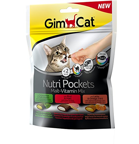 GimCat Nutri Pockets Malt-Vitamin Mix - Crunchy snack for cats with creamy filling and functional ingredients - 1 bag (1 x 150 g)