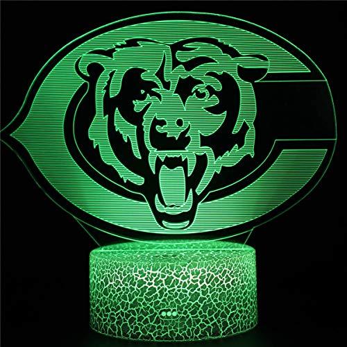 3D Lampe Geschenke, 3D Nachtlicht Spielzeug Chicago Bears E Nachtlicht Kinderzimmer Steckdose mit Fernbedienung 16 Farbwechsel Acrylglas Crack Base Nachttischlampen