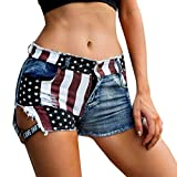 Women Sexy American Flag Denim Shorts High Waist Distressed Ripped Hole Summer Mini Shorts Pants Jeans with Pocket (L, Blue)