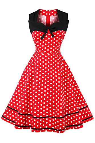 Axoe Damen 60er Jahre Polka Dot Retro Vintage Rockabilly Kleider Abendkleider Elegant für Hochzeit Rot Gr.42
