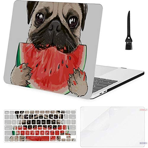 MacBook Pro Case Funny Pug Dog Eating Watermelon Illustration MacBook Pro 15'(NO CD-ROM,2016-2018 Ver) A1707/A1990 Plastic Case Keyboard Cover & Scree