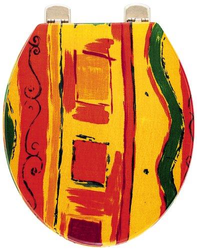 Sanitop-Wingenroth - 40553 9 - WC-Sitz Dekor Modern Art - Hochwertiger Toilettensitz mit Holzkern - Individuell gefertigt, Artikel kann daher vom Bild leicht abweichen & Metall - Scharnier