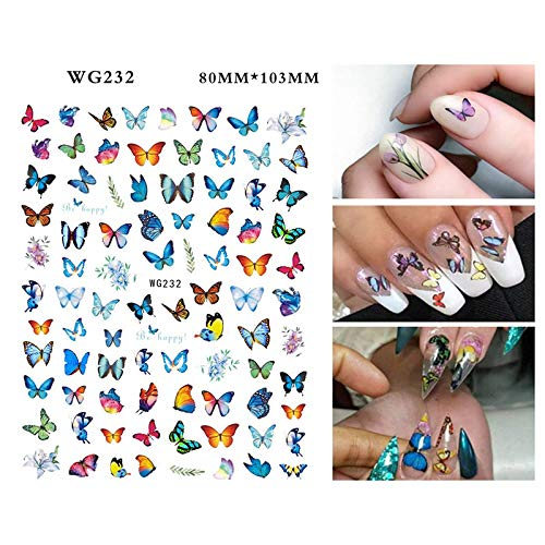 Gizayen 3D Butterfly Nail Art Stickers Decals Decoration Mix Colourful Patterns