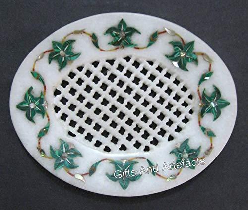 Jabonera de cocina con incrustaciones de piedra de malaquita de 5 x 10 cm con filigrana de trabajo de mármol para decoración del hogar