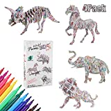 3D Coloring Puzzle Set, 4 Pack Puzzles with 12 Pen Markers, Arts and Crafts for Girls and Boys Age 6 7 8 9 10, Fun Creative Art Building Painting for Kids and Adults Family Craft Kit Supplies