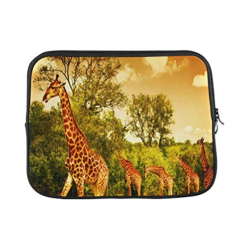 INTERESTPRINT Laptop Neoprene Protective Bag South African Giraffes Big Family Graze in The Wild Forest Notebook Protective Sleeve Case Cover 17 Inch 17.3 Inch