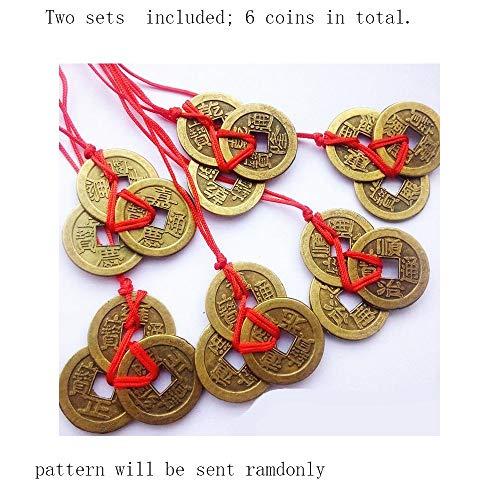 Monedas chinas antiguas de Feng Shui de la suerte, la riqueza y el éxito, amuleto de la suerte