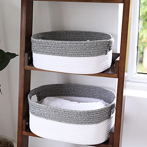 """LA JOLIE MUSE Large Cotton Rope Storage Basket Set of 2, Natural and Safe For Baby Kids Nursery, Two-Tone Woven Decorative Baskets, White & Gray, 17""""+15"""" Inch"""
