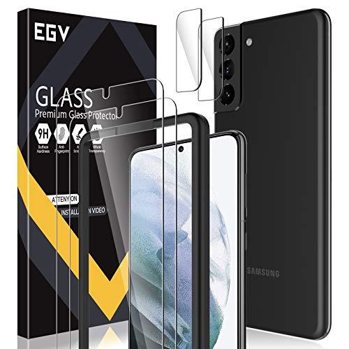 EGV Compatibile con Samsung Galaxy S21 Plus Pellicola Protettiva,2 Pack Vetro Temperato e 2 Pack Pellicola Fotocamera