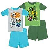 Minecraft Mojang Boys Pajamas Set - 2 Pack of Short Sleeve Pajamas Pajamas (Green Blue, 10)