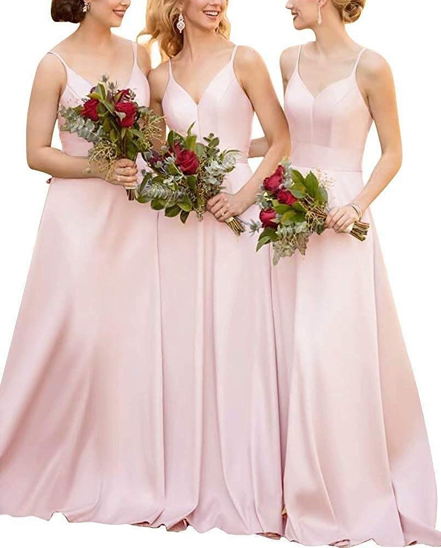 XingMeng Women's Spaghetti V Neck Long Bridesmaid Dress for Wedding Satin Prom Dress