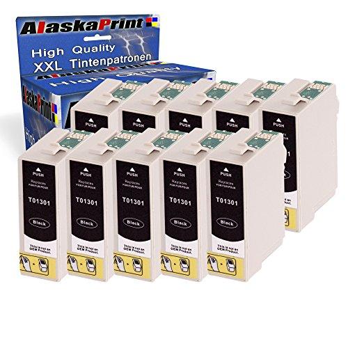 10x Druckerpatrone Komp. für Epson T1301 XL Tintenpatrone Schwarz Black BK Epson Stylus Office BX535WD BX630FW BX635FWD BX935FWD SX535WD BX625FWD