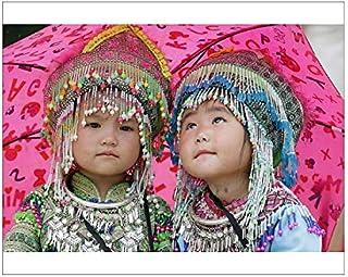 10x8 Print of Hmong Children Under Umbrella in The Monsoon (Rainy) Season, Sapa, Vietnam (19951849)