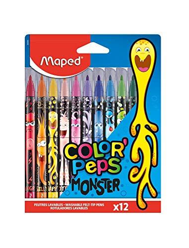 Maped - Feutres Monster Color'Peps - 12 Feutres de Coloriage Fun et Originaux - Lavables et Résistants au Séchage - Feutres Décorés Monstres Rigolos 845400