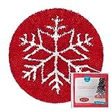 Kit di ganci per tappeti Latch hook kit, tappeti, decorazioni natalizie, fiocchi di neve, 50 x 50 cm
