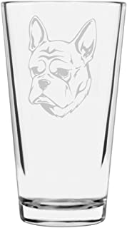 French Bulldog Dog Themed Etched All Purpose 16oz Libbey Pint Glass