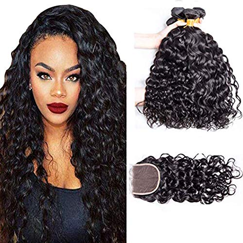 A ALIMICE HAIR Water Wave 3 bundles with closure Brazilian 100% Human hair Weave bundles with 4x4 Closure Remy Hair extensions Can be dyed (14 16 18+14)