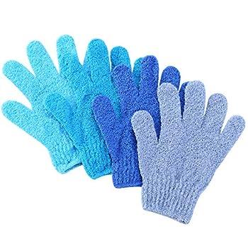 Slick- Exfoliating Gloves 4 Pcs Skin Exfoliator for Body Shower Gloves Scrub Gloves Exfoliating Exfoliating Body Scrub Gloves Shower Accessories for Women Exfoliation Mitt Bath Gloves