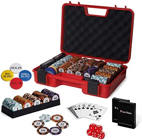 RUNIC Exclusive Poker Set 300 pcs 14 Gram Clay Poker Chips for Texas Holdem Black Jack Casino product image