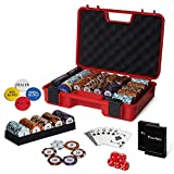 RUNIC Exclusive Poker Set 300 pcs, 14 Gram Clay Poker Chips for Texas Holdem, Black Jack, Casino Grade Chips, Features a Tasteful Shock Resistant Poker Case (Red)