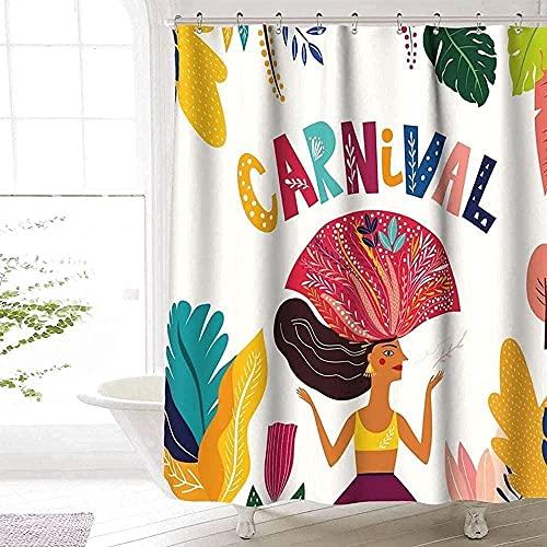 Karneval Duschvorhang Premium Polyester maschinenwaschbar wasserdicht Karneval Duschvorhang für Badezimmer Dekor 72 x 72