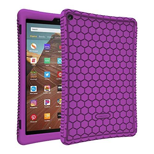 Fintie Silikon Hülle für Das Neue Amazon Fire HD 10 Tablet (9. & 7. Generation - 2019 & 2017) - Leichte rutschfeste Stoßfeste Silikon Tasche Hülle Kinderfre&liche Schutzhülle, Lila