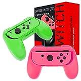 Orzly Grip Compatibile con i Joy-con del Nintendo Switch per Un Comfort Extra (Confezione Doppia) - 2 Impugnature Universali (1 Rosa + 1 Verde) per i Joy-con del Nintendo Switch