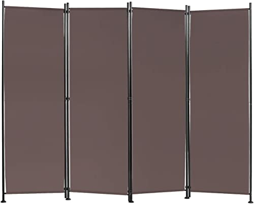 Giantex 4 Panel Room Divider, 5.6 Ft Folding Privacy Screen with Adjustable Foot Pads, Home Office Freestanding Tall Partition, Wall Divider for Bedroom, Living Room (Coffee)