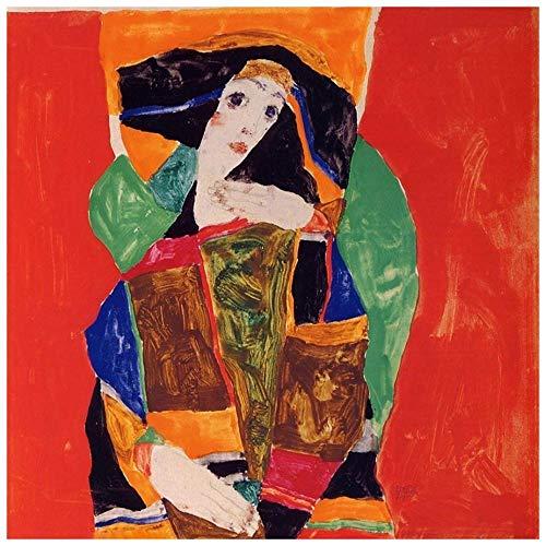 Legendarte PL-076 afbeelding voor een vrouw. Digitale druk op canvas. Egon Rail schilderij, meerkleurig, 60 x 60