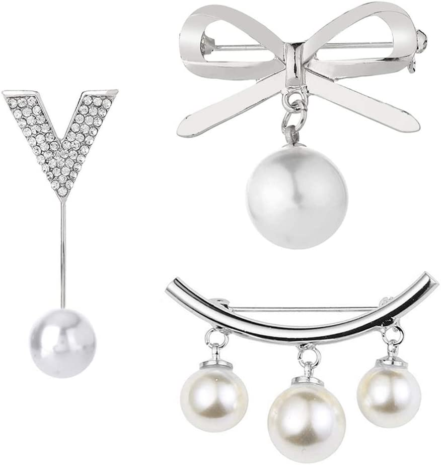 Shuxy 3PCS Brooches for Women Finally popular brand White Brooch Classic Pins Dangl Pearl Faux