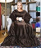 Wearable Fleece Blanket with Sleeves for Adult Women Men, Super Soft Comfy Plush TV Blanket Throw Wrap Cover for Lounge Couch Reading Watching TV 73' x 51' Brown