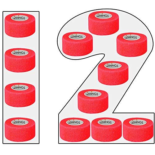 12 Pflasterverbände Selbsthaftende Bandagen In ROT Elastischer Fixierverband 2,5 CM Breit 4,5 METER Lang Fingerpflaster, Wundverband Auch Für Zehen, Füße Ohne Kleber Von Amathings