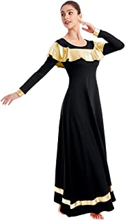 IBAKOM Womens Praise Liturgical Worship Dance Dress Ruffle Metallic Gold Color Block Loose Fit Full Length Dancewear