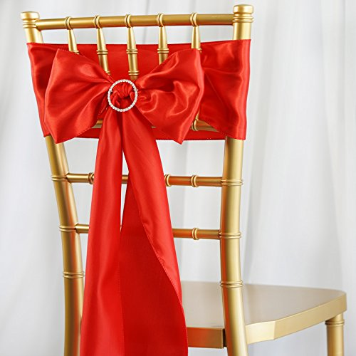 BalsaCircle 50 Red Satin Chair Sashes Bows Ties for Wedding Party Ceremony Reception Event Decorations Supplies Cheap