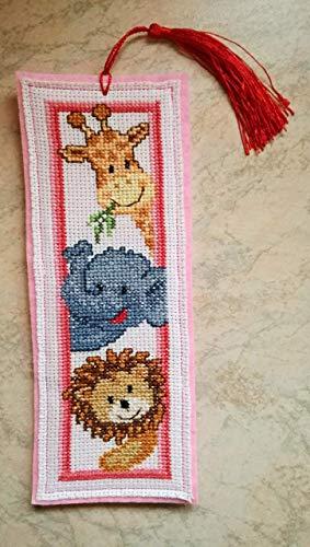 Animali - Segnalibro in feltro giallo - punto croce - cross-stitch - bookmarks