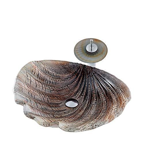 Forma de Concha Lavabo de Vidrio Templado con Grifo de Cascada Baño Lavabo sobre Encimera para la Familia, Comedor, Al Aire Libre,Marrón