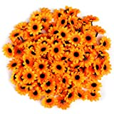 Naler 120 Margaritas Artificiales Pequeñas Cabezales de Flores Artificiales Decoración Boda, Fiesta, DIY Manualidades, Color Amarillo