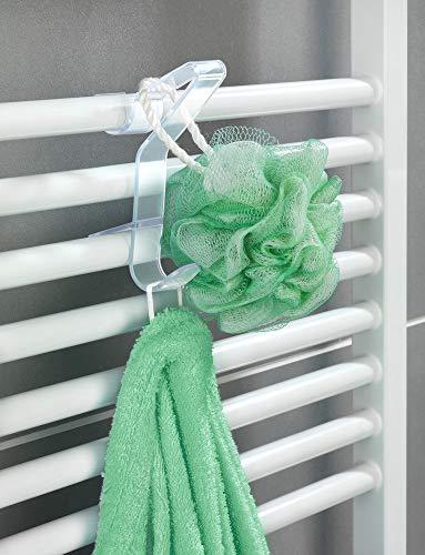 WENKO Rundheizkörper-Haken Flexi farblos - 3er Set, Handtuchhaken für Badheizkörper, Polykarbonat, 2.5 x 13 x 8.8 cm