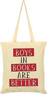 Boys in Books are Better Tote Bag Cream 38x42cm