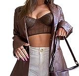 PDYLZWZY Y2K - Blazer para mujer de piel sintética, cuello de solapa, parte frontal abierta, manga larga, botón Down, marrón, M