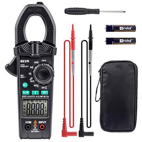 BEVA クランプメーター デジタルテスター オートレンジ マルチメーター AC/DC電流電圧 小型 AC電流 抵抗 導通 周波数 ダイオード 測定 日本語説明書付き