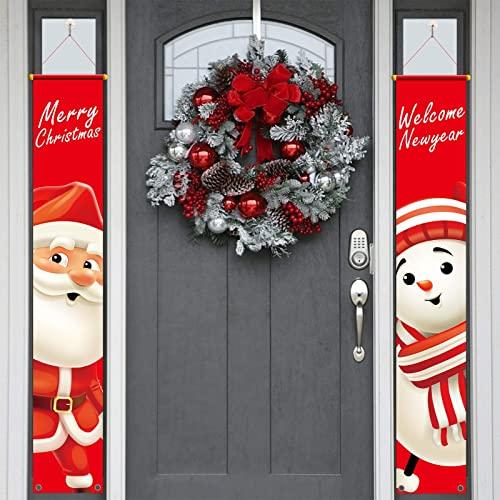 CHALA Banner de Navidad Bandera de decoración de Navidad americana Papá Noel Feliz Navidad Guirnalda Muñeco de nieve Decoración Colgante Letrero de porche Decoración de Navidad para interior Puerta ✅