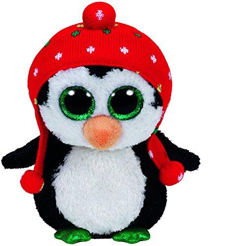 Carletto Ty 36172 - Freeze - Pinguin mit Mütze, 15 cm, mit Glitzeraugen, Glubschi's, Beanie Boo's, X-Mas limitiert, rot