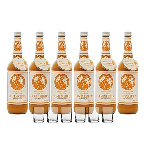 Likör Original Steife Brise Dünenreiter Sanddornlikör 17% vol Gülden Tor 0.7 l (6 Flaschen mit 6 Gläsern)