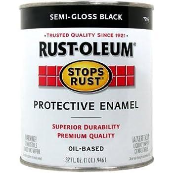 Rust-Oleum 7798502, 32 oz. Quart, Semi Gloss Black Stops Rust Brush On Enamel Paint