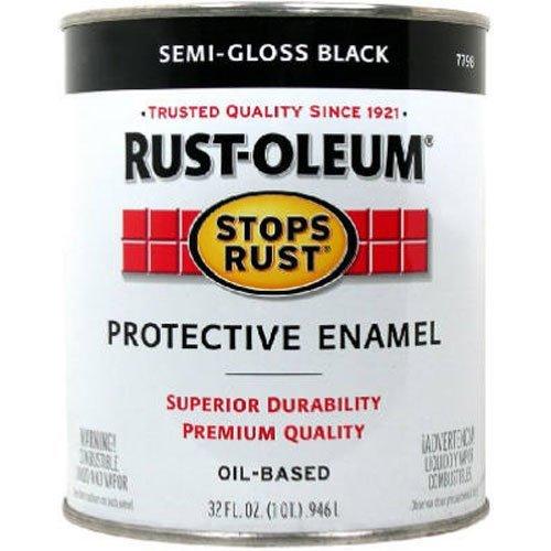 Rust-Oleum 7798502 Stops Rust Brush On Paint, Quart, Semi-Gloss Black