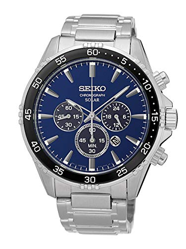 Seiko herenhorloge zonne-chronograaf met metalen armband SSC445P1