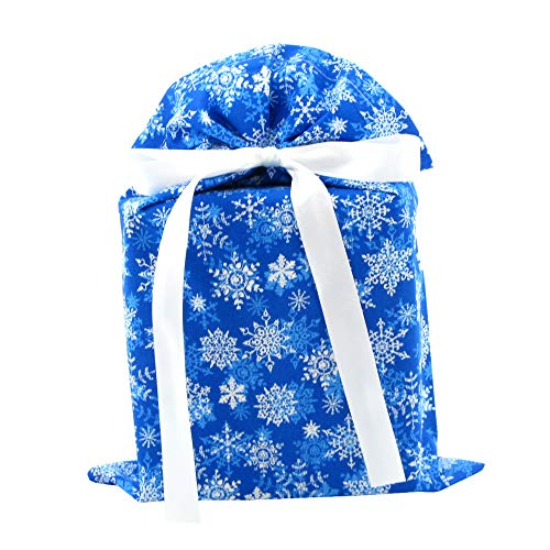Snowflakes on Blue Reusable Christmas or Hanukkah Gift Bag (Standard 10 Inches Wide by 15 Inches High)