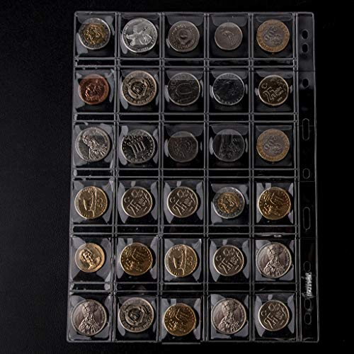 300 Pockets Coin Binders Pages - 1.38 inch Holders 10 pcs Loose-Leaf Sheets Acid-Free Collection Holders for Medallion Coin Stamp Currency Collecting Supplies 35x35mm / 1.38x1.38 inch CS03230