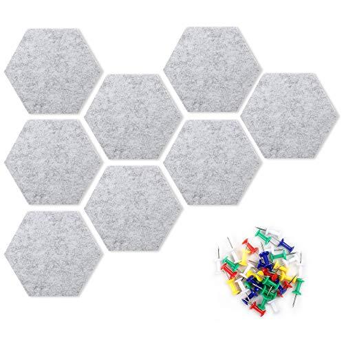 DesignSter 8 piezas de tablón de anuncios hexagonal de fieltro gris, tablón de anuncios con 35 alfileres, tablones de anuncios autoadhesivos para la pared del aula, cocina, oficina, hogar